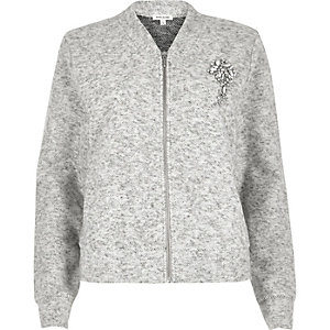 Grey marl diamond brooch bomber