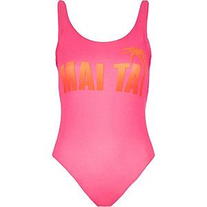 Pink print thong bodysuit