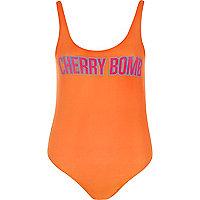 Orange cherry print bodysuit
