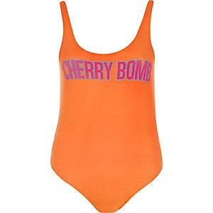 Orange print bodysuit