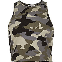 Khaki camo crop top