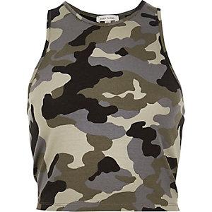 Khaki camouflage print crop top