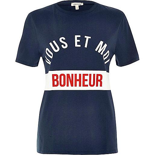 T-shirt imprimé 'Bonheur' bleu marine