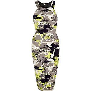 Grey camouflage print dress