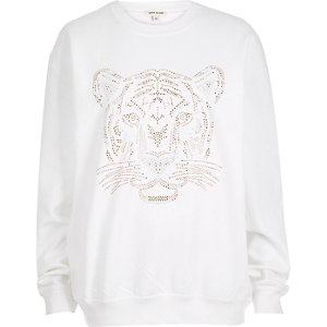 White tiger print sweatshirt