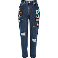 Mom-Jeans in dunkelblauer Waschung