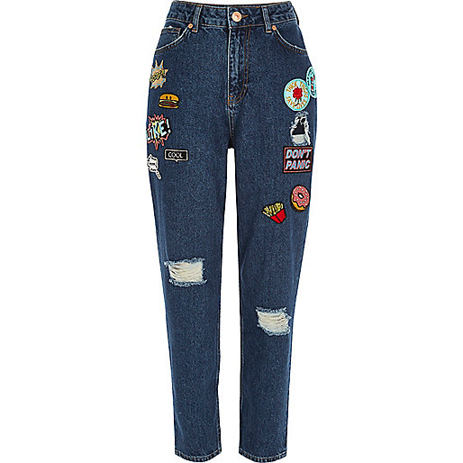 Dark blue wash badge Mom jeans