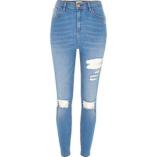 Blue wash Lori high rise ripped skinny jeans