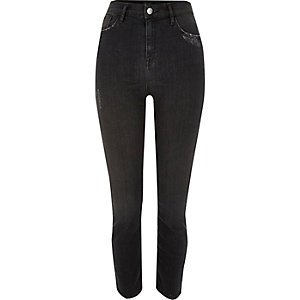 Black washed high rise Lori skinny jeans