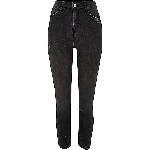 Black washed high rise Lori skinny jeans