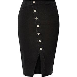 Black denim asymmetric midi skirt