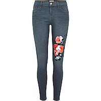 Amelie – Blaue Superskinny Jeans mit Blumenmuster