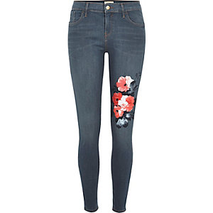 Jean super skinny Amelie bleu à fleurs