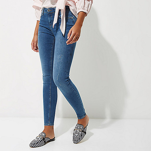 Blue Age Womens Destroyed Ripped Distressed Skinny Jeans