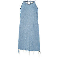 Light blue wash tied neck denim dress