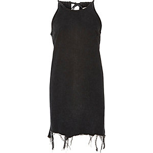 Black washed tied neck denim dress