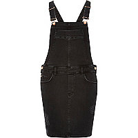 Black distressed overall dress