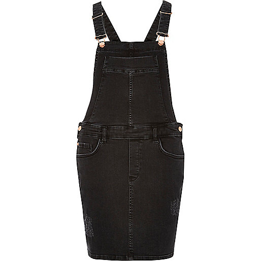 Black distressed dungaree dress