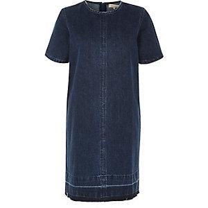 Robe t-shirt en jean délavage bleu foncé