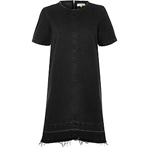 Black washed denim T-shirt dress