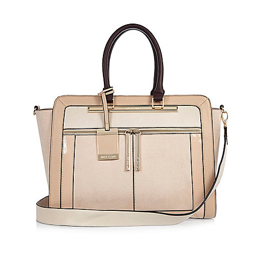 Nude structured tote handbag