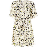 Cream floral print frill dress