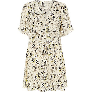 Cream floral print frill dress