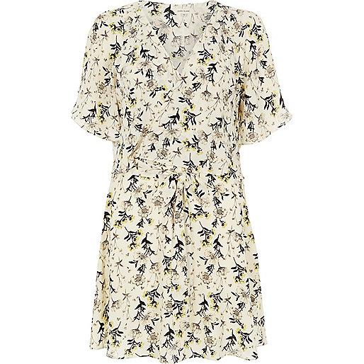 Cream floral print frilly dress