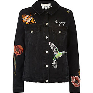 Black embroided denim jacket