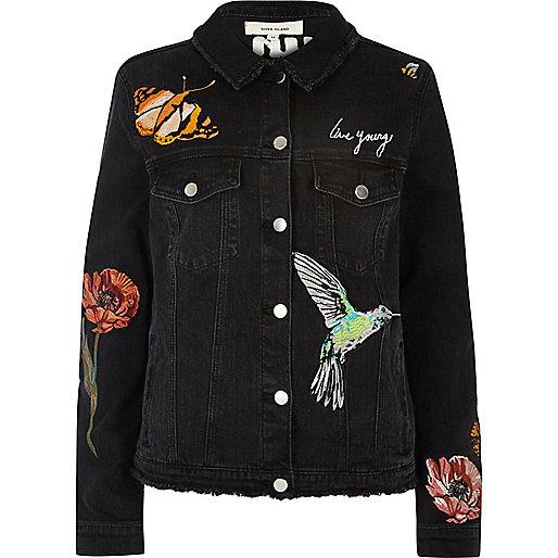 Black embroided denim jacket