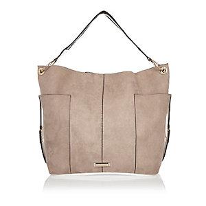 Beige slouch handbag