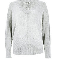 Grey ribbed panel batwing jumper