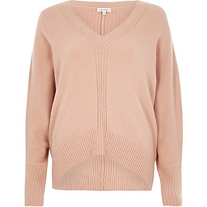 Pink ribbed panel batwing sweater