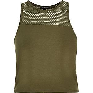 Khaki mesh panel crop top