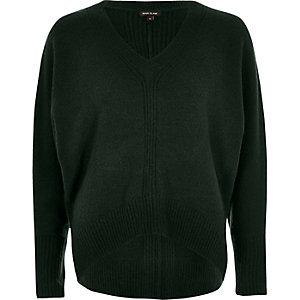 Dark green ribbed panel batwing sweater