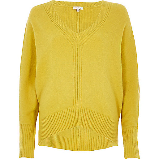 Lime ribbed panel batwing jumper