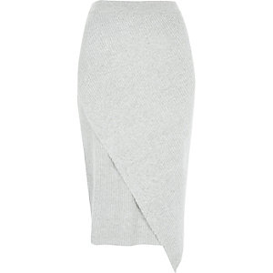 Light grey ribbed asymmetric wrap skirt