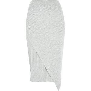 Jupe portefeuille asymétrique gris clair côtelée