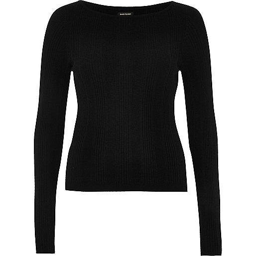 Black slash neck sweater