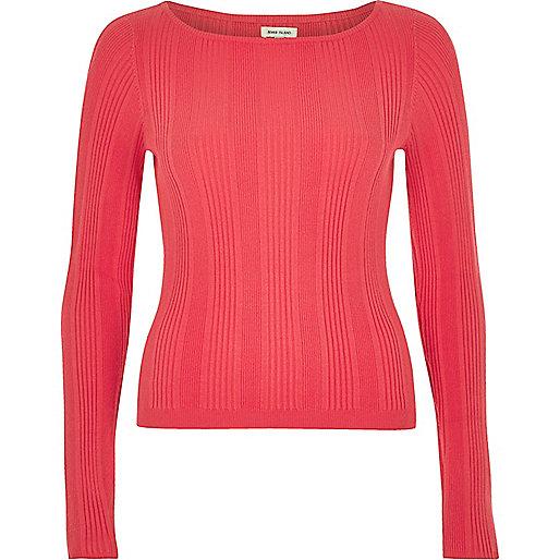 Pink slash neck sweater