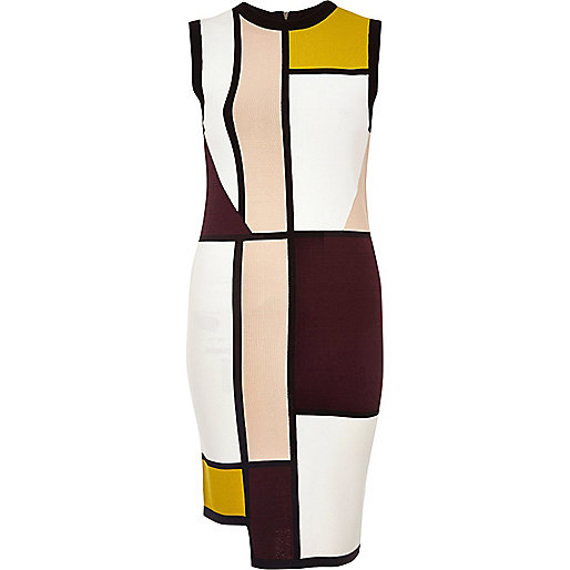 White color block asymmetric column dress