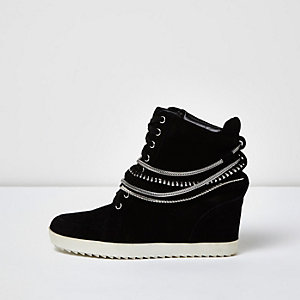 Black suede studded hi tops