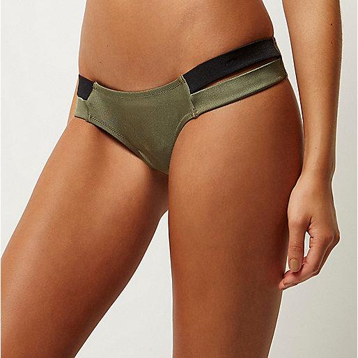 Khaki double strap bikini bottoms