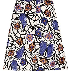 Blue floral print flippy skirt