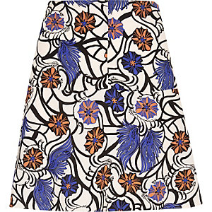 Blue floral print flippy skirt