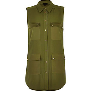Khaki four pocket sleeveless shirt
