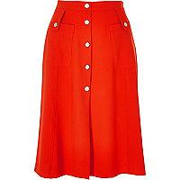 Red button through midi skirt