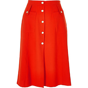 Red button through midi skirt