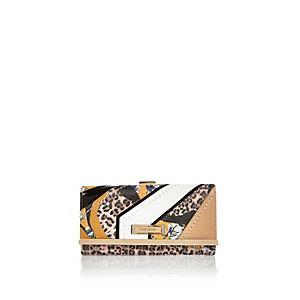 Brown animal print clip top purse