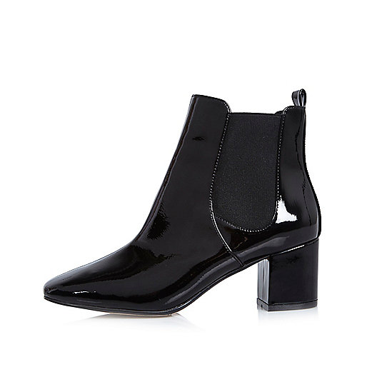 Black patent block heel Chelsea boots